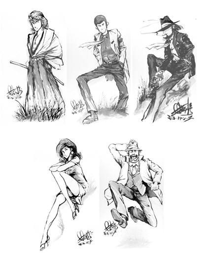 「ルパン三世」水墨画シリーズ(モンキー・パンチ作)・レプリカバージョン